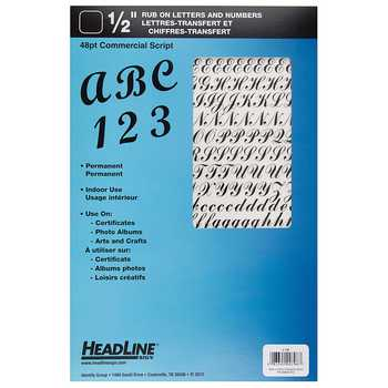 Headline Black Rub-On Commercial Letters & Numbers - 1/2""